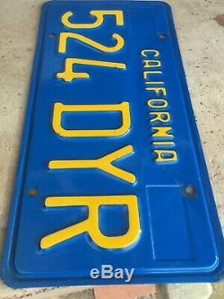 California CAR License Plates 524 DYR 1970-1980 DMV Clear YoM Set Pair Blue