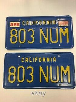 California CAR License Plates 803 NUM 1970-1980 DMV Clear YOM Set Pair Blue