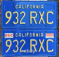 California CAR License Plates 932 RXC 1970-1980 DMV Clear YoM Blue Set Pair
