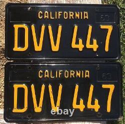 California CAR License Plates DVV 447 1963-1969 DMV Clear YoM Set Pair Black