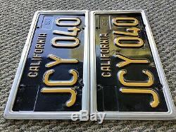 California CAR License Plates JCY 040 1963-1969 DMV Clear YoM Set Pair Black