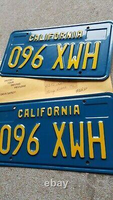 California CA blue Yellow Gold license plates pr. 096 XWH Original YOM Clear NOS