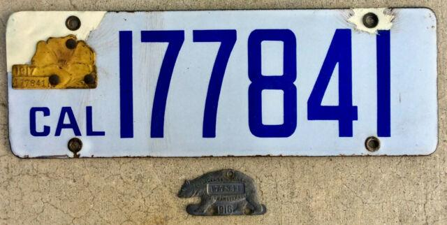 California License Plate 1916 1917 Porcelain With 2 Tabs