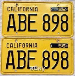 California License Plate 1956 Pair Excellent Condition