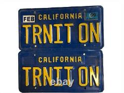 California License Plate Blue Yellow TRNIT ON Turn It On (Pair)