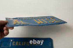 California License Plate Pair Blue Yellow (G3R) Vanity Al Wise Feb 1993 Tags