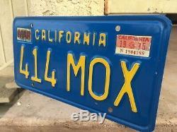 California License Plates 414 MOX 1970-1980 DMV Clear YoM Set Pair Blue