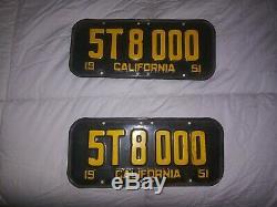 California License Plates Matching Pair of 1951 DMV Clear 58,000 TRIPLE 000's
