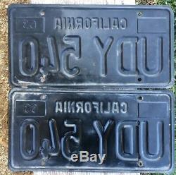 California License Plates UDY 540 1963-1969 DMV Clear YoM Set Pair Black