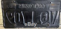 California License Plates VQJ 709 1963 thru 1969 DMV Clear YoM Set Pair Black