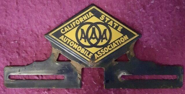 California State Auto Assoc Vintage Porcelain License Plate Topper 1930/40/50's