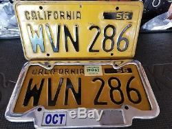 California YOM license plates DMV Clear, 1962 sticker, WVN286