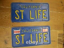 California blue license plates pair DVM Cleared and personalized ST LIFE-cool