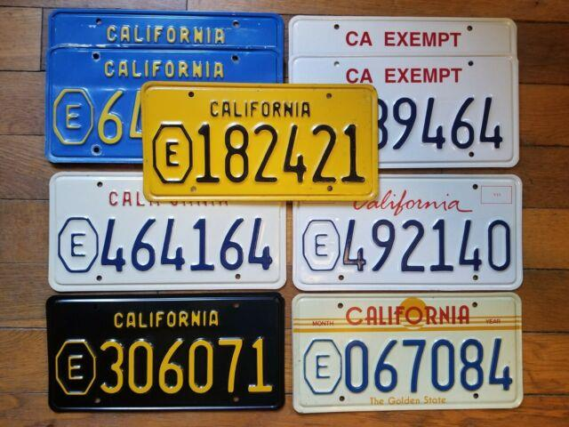 California License Plate Lot, 1956+ Octagon E, 9 Plates, 7 Different Base's