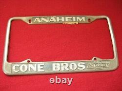 Cone Bros Anaheim Chevrolet Dealer Plate Frame Chevy License Corvette Vtg