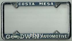 Costa Mesa California Goodwin Automotive Vintage Porsche VW License Plate Frame
