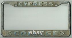 Cypress California College Volkswagen VW Vintage Bus Dealer License Plate Frame