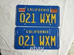 DMV CLEAR California 1970's BLUE License Plate 021 WXM Mint