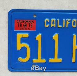 DMV CLEAR California steel 1970 BLUE Yellow LICENSE PLATES 1971 1972 1974 1973