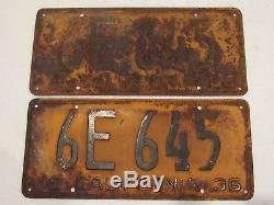 DMV Clear 1936 California License Plates Vintage YOM Oversized Rare Original CA