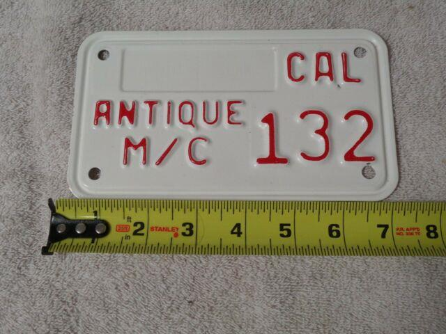 Early California License Plate Motorcycle, Dmv Clear Original Rare Mint