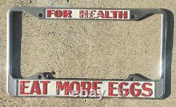 FOR HEALTH EAT MORE EGGS Vintage California Novelty Dealer License Plate Frame
