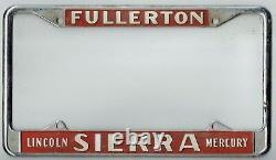Fullerton California Sierra Lincoln Mercury Vintage Dealer License Plate Frame