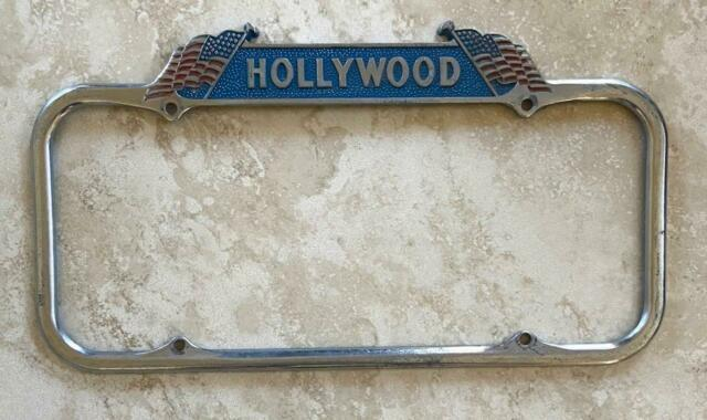 Hollywood California American Flags Patriotic License Plate Frame 1940-1955
