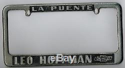 La Puente California Leo Hoffman Chevrolet Vintage Dealer License Plate Frame