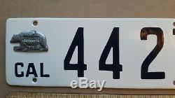 License Plate, California, 1916, Porcelain, Bear, 4427, 442 (like Olds) Restored