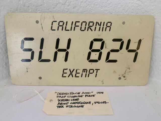 License Plate Death Race 2000 Rare Original Screen Used Movie Prop! California