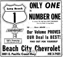 Long Beach California Beach City Chevrolet Vintage GM Dealer License Plate Frame