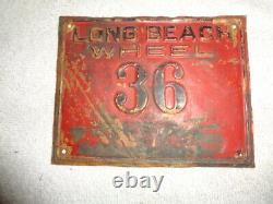 Long Beach California License Plate Original 1930-1937 Rare Wheel Jrs