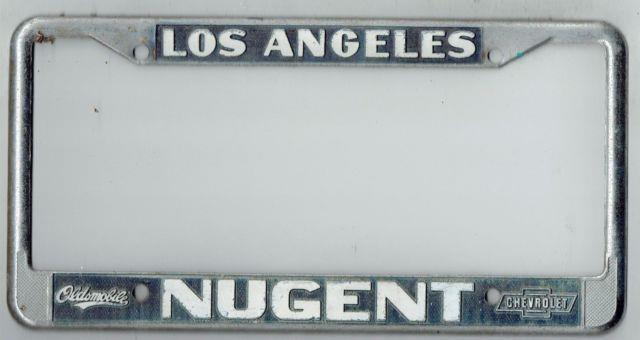 Los Angeles California Nugent Chevrolet Oldsmobile Vintage License Plate Frame