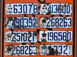 Lot 8 Antique Porcelain 1919 California License Plates Dealer