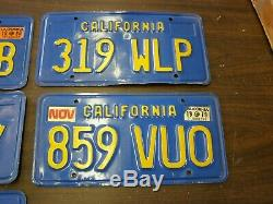 Lot of 10 California Blue License Plates 1979 1980 Nice Condition