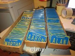 Lot of 500 + Blue California Name bike mini license plates