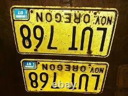 Lot of 8 Vintage California Oregon Black Yellow License Plates