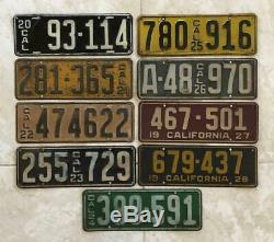 Lot of CALIFORNIA License Plate Singles 1920 to 1928 Not DMV Clear Set of 9