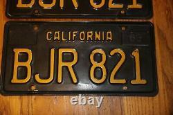 Matched Pair 1963 California Passenger Car License Plates Bjr821 Yellow O Black