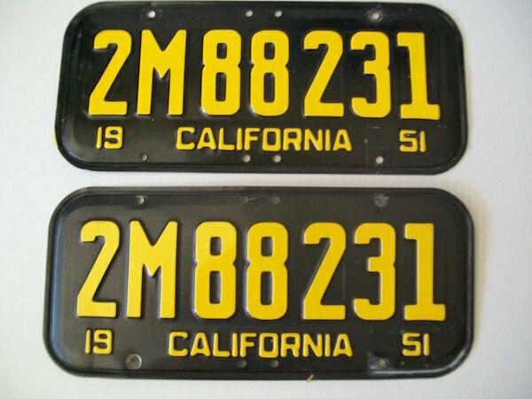 Matched Pair Of 1951 California License Plates