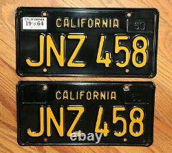 Matching California Black & Yellow 1963 License Plates JNZ 458 Stickered 1964
