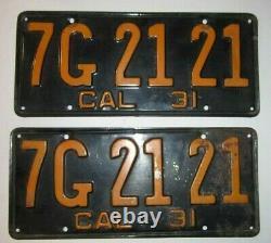 Matching Pair 1931 California License Plates Oem
