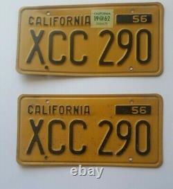 Matching Set of 1956 California License Plate California 56 1962 renewal
