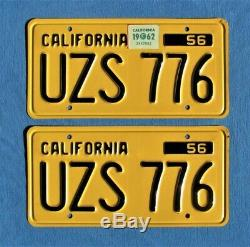 Matching pair 1956 california license plates DMV clear SHARP original condition