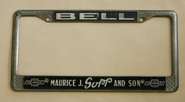Maurice J. Sopp & Son Chevrolet Dealer Bell, California License Plate Frame Orig