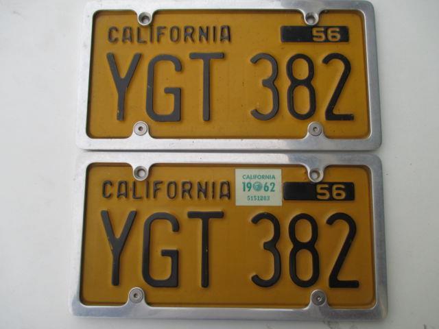 Nice 1956/1962 Decal Pair California Passenger #ygt-382 License Plates