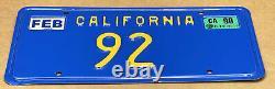NICE VERRY RARE 70s/80s DMV CLEAR(CALIFORNIA) 92 LICENSE PLATE -VINTAGE