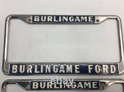 NICE VINTAGE PAIR BURLINGAME FORD S\F CALIFORNIA CAR DEALER License Plate Frame