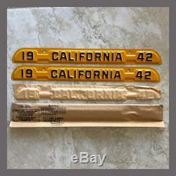 NOS 1942 California License Plate Metal Corner Tags Pair Original YOM 1941